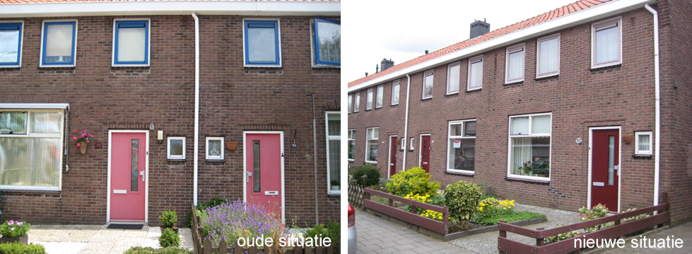 voor en na kleuren corporatiewoningen