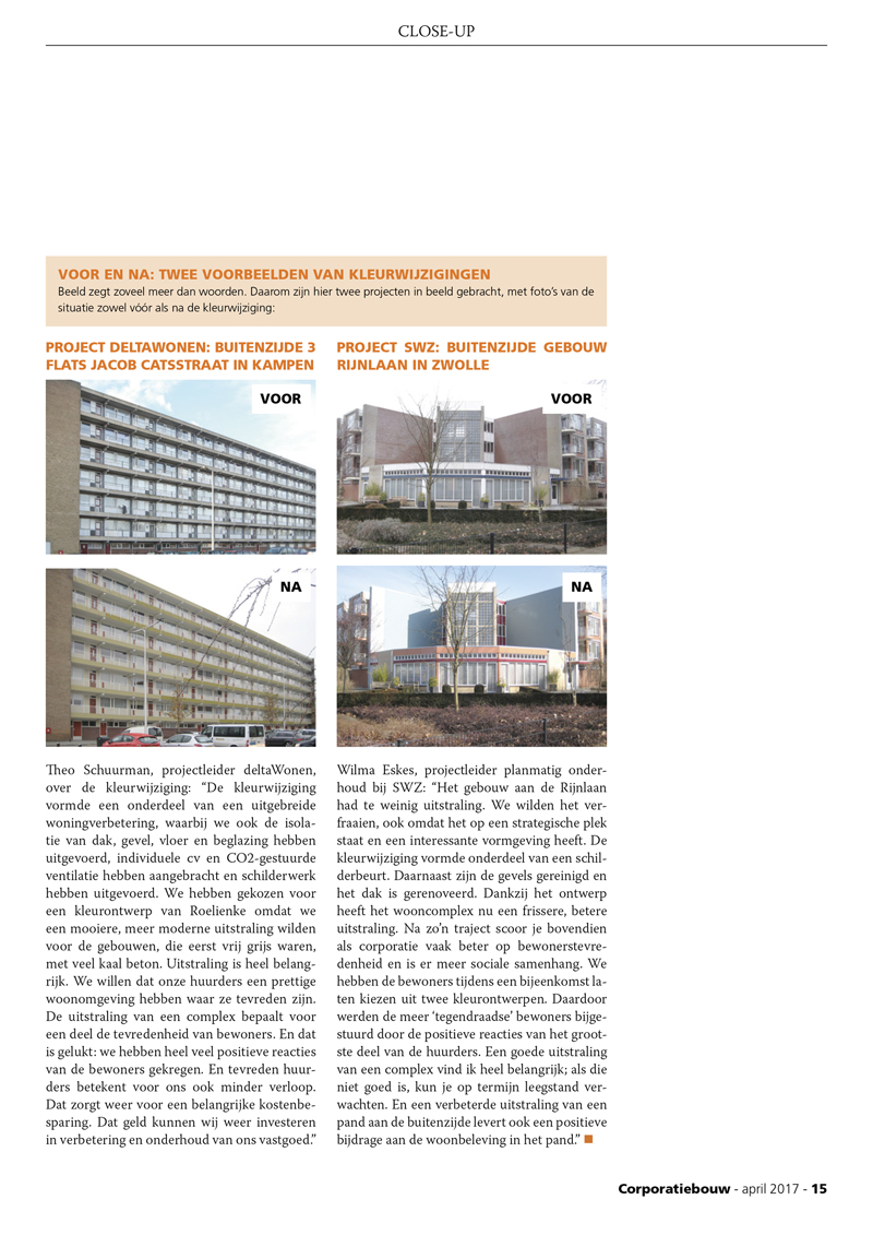 kleurontwerp voor corporatievastgoed artikel Roelienke media kleurontwerp publicatie tijdschrift corporatiebouw pagina 2